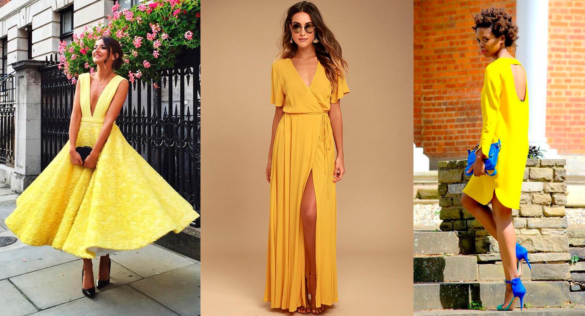 С чем носить желтое платье
